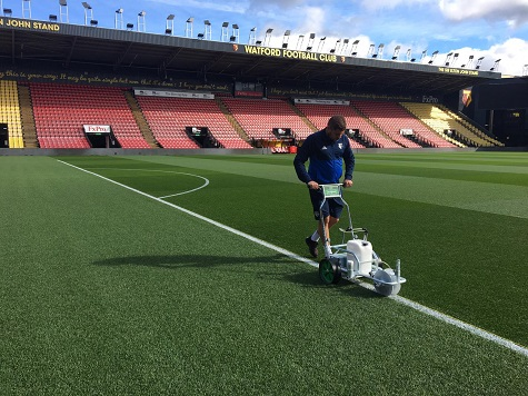 Premier League club Watford FC has chosen Pitchmark's Ecoline+ for all the line making at the Vicarage Road stadium, college and Academy pitches