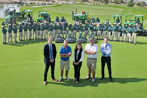 (Front left to right) Education City Golf Club General Manager Michael Braidwood, Golf Course Superintendent Darren Smith, Business Development Manager Leen Al Ghaly of John Deere dealer Progressive, Deputy Golf Course Superintendent Andrew Ikstrums and Education City's Director of Golf Rhys Beecher, with members of the 45-strong maintenance team and part of the new John Deere machinery fleet.