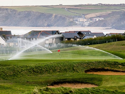 The exposed links course of Newquay Golf Club with Toro Lynx control system and Flex Series sprinklers in use.