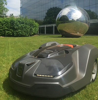 The robotic mower at work at GlaxoSmithKline's head office