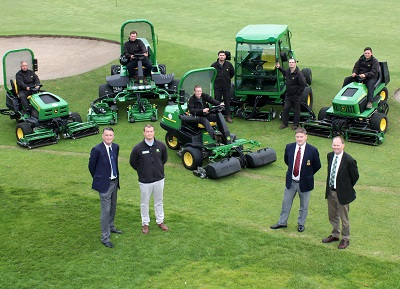 (Front left to right) Teesside club captain Dave McGuinness, dealer Alastair Briggs of Greenlay, head greenkeeper Gary Evans (seated on mower), greens chairman Tony Foster and John Deere territory manager Richard Charleton