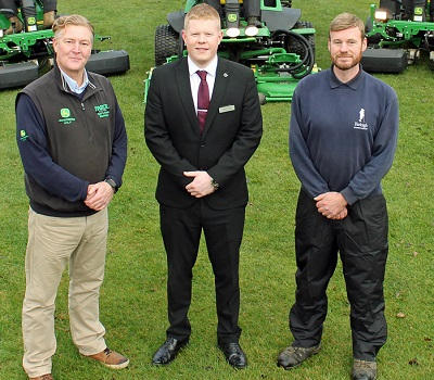 John Deere dealer Farol golf & turf area manager Dave Searles, Farleigh Golf Club general manager Adam Walsh and course manager Kenny MacPhail