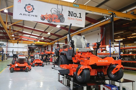 The first zero turn to be produced in Europe at AriensCo's factory in Great Haseley