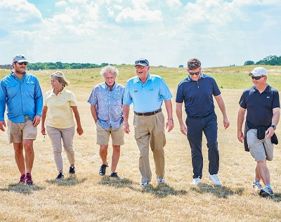 L-R: Matt McGarey, Cynthia Dye, Tony Menai-Davis, Perry Dye, Ceri Menai-Davis and Nigel Ely during a course inspection at West London Links in summer 2018. Photo by Robert Parfitt.