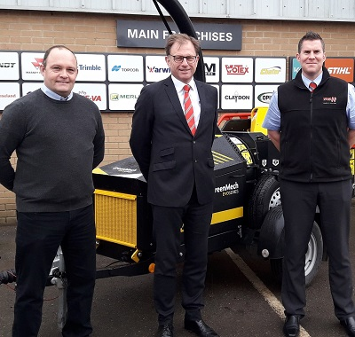 L to R: Julian Cullis of GreenMech, with TNS sales director Chris Tew and Matt Bailey, Suffolk groundcare sales manager