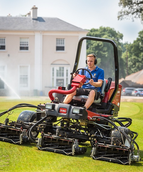 The new Reelmaster 3575-D and irrigation in action in front of the Manor House at Ham Manor Golf Club.