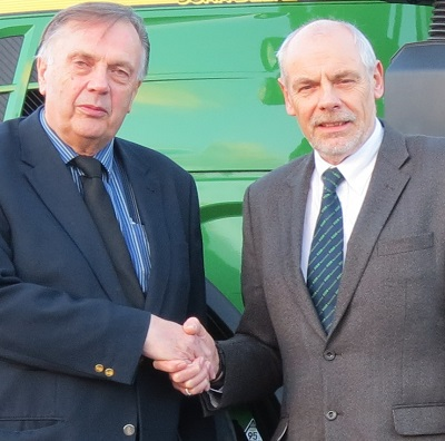 L-R: Geoff Brown, managing director of Ripon Farm Services with Adrian Denner, managing director of RBM Agricultural