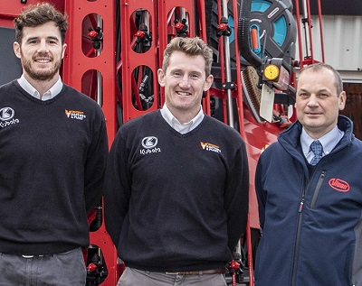 L-R: Vincent Tractors & Plant's Alec Vincent and Nick Vincent with Vicon sales manager, David Furber