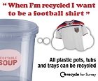 Graphic showing plastic cup to be recycled into a football t-shirt