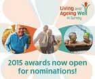 Awards logo with message: 2015 awards now open for nominations.