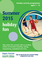 Front cover of holiday fun booklet with picture of boy playing basketball