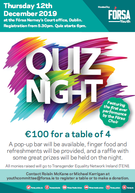 The quiz commences at 5.30pm and costs €100 for a table of four.