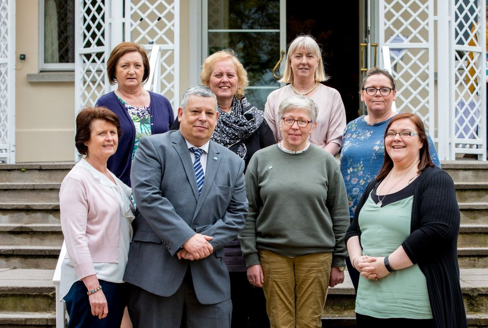 Some members of the new divisional executive. (Back row: Joan Regan, Anne Marie Melia, Gina O'Brien and Eilise McGarrell Front row: Kathleen O'Doherty, Andy Pike, Deborah O'Connor and Noreen O'Mahony)