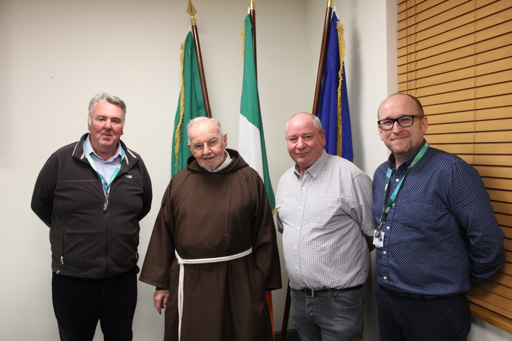 Pictured L-R: Michael Davis, branch Vice-Chair; Brother Kevin Crowley; Tony Stafford, branch executive; Ryan McKinney, Fórsa Assistant General Secretary