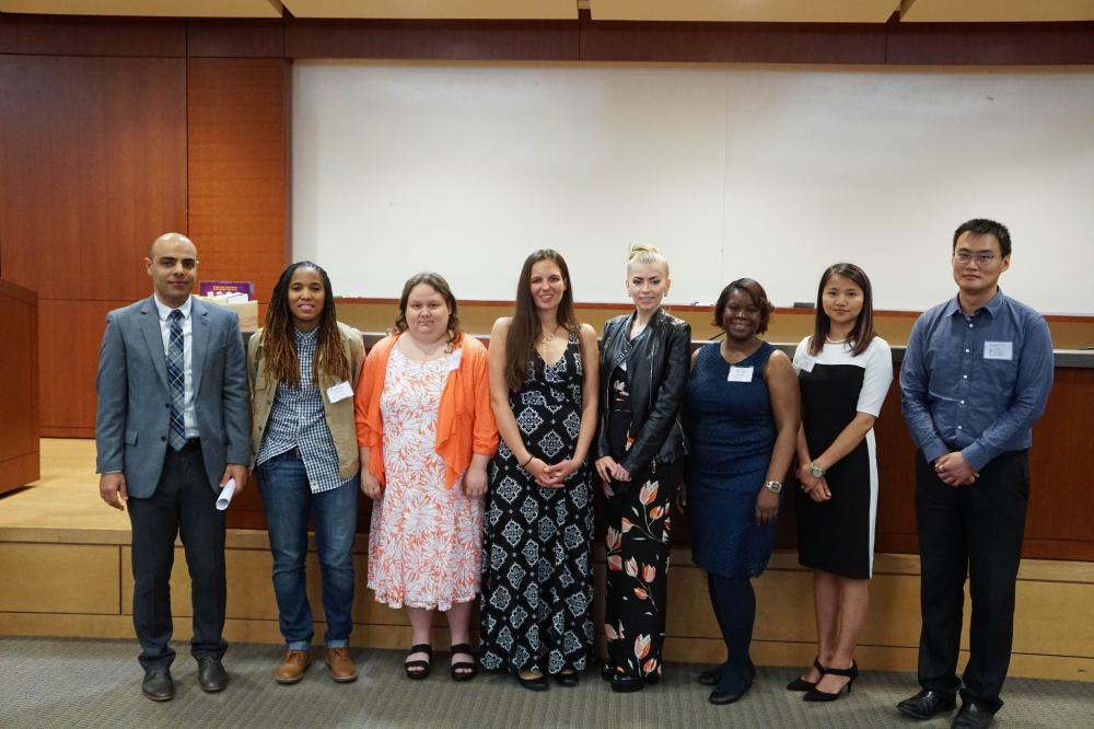 Students inducteed into Beta Gamma Sigma Honor Society. These students are among the top students in the school.